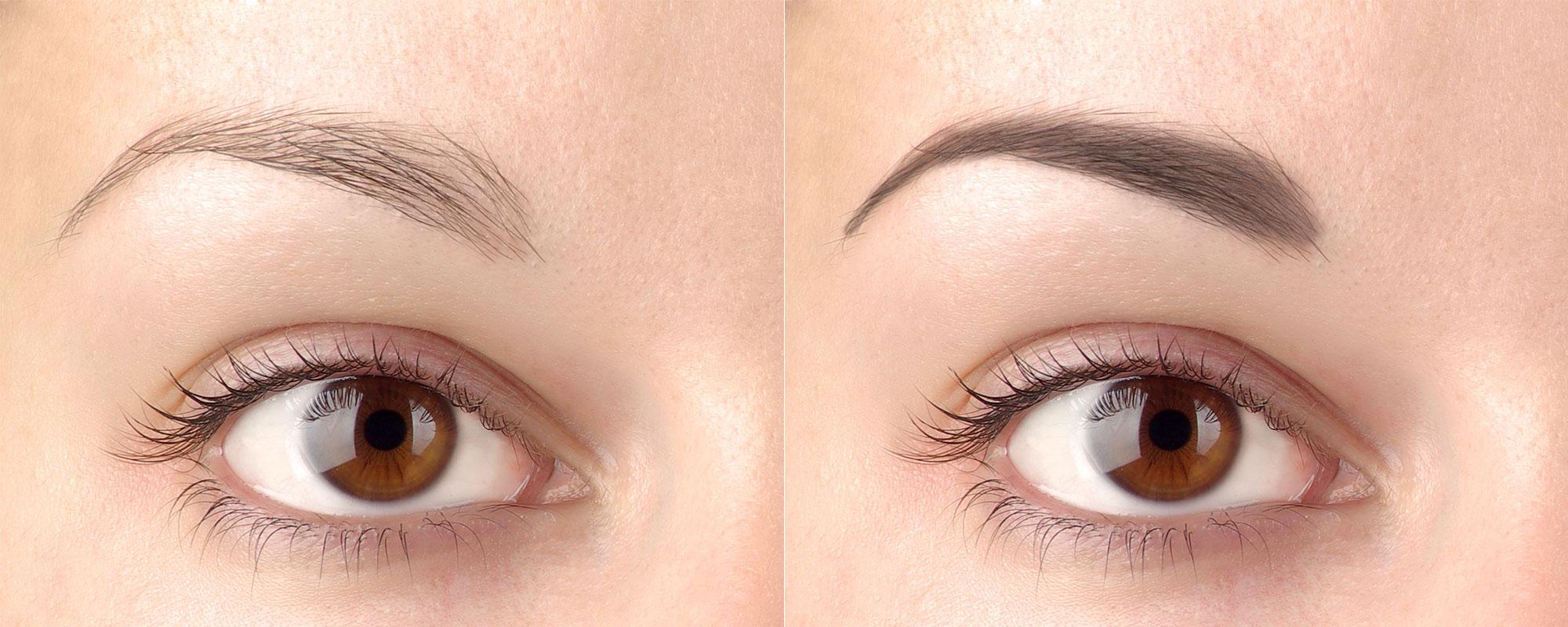 Maquillage permanent sourcils avant après